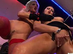 Horny black fucker gives a tongue fuck to tasty shaved pussy of filthy blondie while she oral fucks his massive penis in pose 69 in wild group sex orgy by Tainster.