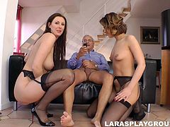 Voracious MILF hoes are fucking furiously in a spicy threesome action. Brunette babe Stella is riding hard dong while another chick is caressing her boobs.