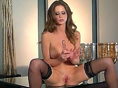 Emily Addison is an amazing bombshell. She is very rich lady and looks very elegantly despite that she is hot a experienced bitch. Today she plays with her wet pussy with a beautiful smile on the face.