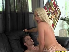 As this tall blondie is the way too addicted to cum, she never misses a chance to give a stout blowjob. Voracious nympho strips, plays with her tits till the nipples get fist and kneel down for sucking a tasty lollicock. You surely need to check her out in Reality Kings sex clip if you wanna gain your portion of pleasure.
