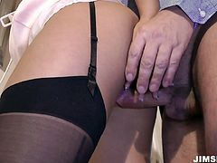Alluring hot gal Lana wanna get her wet pussy polished from behind at home