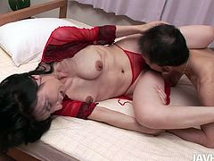 Sex greedy daddy calls up a hot blooded Japanese prostitute. He oral strokes her cuddly tits before getting to her beaver, which he eats and later drills with dildo.