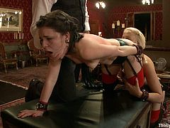 Check out this two slaves are tied up and ready to get banged by the black cock machine after having 69 sex. This sex sluts are totally dominated by their master.