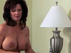 Heavy chested brunette milf and young naughty blonde babe Aubrey Addams and Deauxma get naked while making out and lick each others wet pussies  to orgasms in bedroom fantasy.