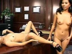 When spicy hot sluts Lana Croft and Nyomi Marcela meet the pleasure doubles. These lesbian babes eat pussies in 69 style on the table.