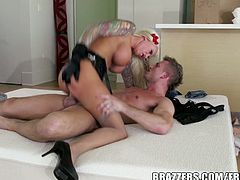 Big titted blonde hottie Lolly Ink finds her husband's box of bondage toys and convinces him to tie her up and pump her strong!
