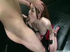 Kinky and hot Japanese brunette with sweet tits has a strong desire to fill her mouth full with sperm. This amazing gal does her best while sucking a dick. Passionate slim hooker needs nothing more but to be poked doggy for dozen of pleasure.