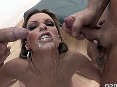 Sensual hottie likes feeling more than one cock fucking her tight holes in threesome