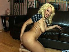We have here a hot blond ebony called Destiny Dream riding a big black cock with that amazing booty of hers and moaning with every thrust.