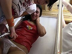 Sex greedy Russian lesbians please each other in shower. They direct a water stream on each other's steamy pussies in perverse sex video by Club Seventeen.