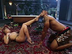 Check out this hot scene where a smoking hot babe makes her slave worship her beautiful feet before taking a ride on his big black cock.