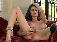 This sexy brunette MILF pleasures herself well, getting that shaved gash of hers dripping wet, and, with enough abuse, bright red, too! What a naughty, naughty girl. I love it!