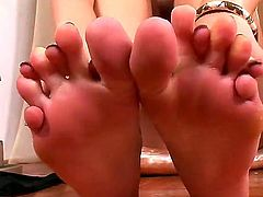 Pretty girl with long straight legs demonstrates her gentle feet in front of the camera. She likes to play with her beautiful feet, and i hope, you will enjoy this fetish video