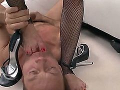 Nasty slut with tight pussy, Abbie Cat, poses in sexy stockings and get dirty with her friend, Rocco Siffredi. He is a rough fellow and it means that Abby will get a hardcore penetration