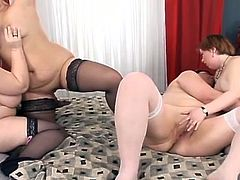 Fame Digital sex clip presents you with four alike looking fat British brunettes. After undressing slutty lesbos with plump bellies and huge boobs stretch legs as wide as they can for licking and spooning each other's cunts on the wide bed, which creaks under their heavy bodies.