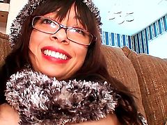Watch the cool masturbation with so cute and naughty spectacled cutie. The nerdy babe is going to expose some of her sweetest spots before starting to play with pussy.