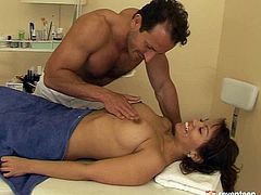 Tasty looking Latin milf goes through a thorough medical examination. She lies on a lounge while rapacious doctor finger fucks her shaved cunt and oral strokes cuddly tits before she inclines to oral fuck his rod.