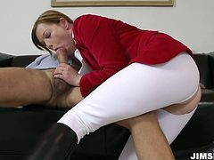 Horn-mad light haired horsewoman in sporty racing suit is ready to be fed with cum. Kinky tall slut with rounded butt is a terrific dick sucker, who enjoys pleasing old bastard. Dude, check her out in Jim Slip sex clip if you gonna be satisfied tonight.