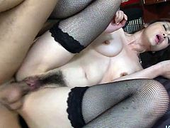 This gal from Japan is far from being perfect. She's rather pale. Her tits are small. But owner of hairy pussy is a futuristic lover, who's great pro in both riding and sucking cocks. Don't you capeesh? Then check out hot Jav HD sex clip to jerk off and jizz at once.