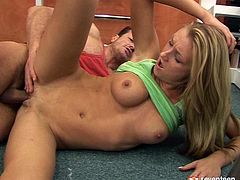 Divine blond milf gives a rapacious blowjob to her coach