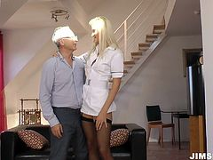 She is looking after this old pervert maintaining his health condition. Being very responsible nurse she is ready to do everything it takes to keep him happy. This horny dude takes advantage of his situation so he says only sex will keep him healthy. So he fucks her hard from behind and then thrusts his dick deep in her throat.