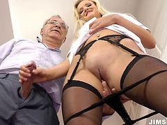 Fantastically seductive blonde nurse Andrea Francis is sucking her patients dick