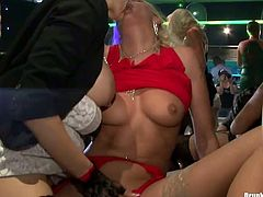 Wet and messy orgy party with hot lesbians and horny guys