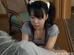 Japanese hottie Arisu Hayase proves that she is a nasty girl. She rubs some guy's prick shyly and then takes it in her mouth and sucks it like no one other can.