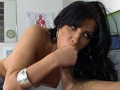 Brunette little slut is a super sex creation who needs hardcore drilling.Horny doctor fucked her after examine her hot body,She tautens her anus on his big cock and then gets all her holes fucked.Enjoy!