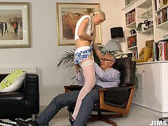 Kinky blond head is rather tall and sexy. This chick is the owner of smooth ass and sweet tits. Ardent lesbo likes tickling brunette's wet pussy. But as this harlot is the way too voracious she wishes to seduce an old man for a casual sex, demonstrating her splendid body in different clothes.