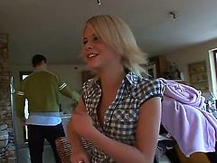 Blonde Cherry Pink and Sophie Moone strips naked and then fondle each other