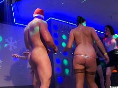 Well, this Xmas party is just hot like hell. Several dudes get lucky and enjoy solid blowjobs provided by already sweaty black and blond heads. Titless pale and some even skinny whores are far from being pretty, but they're surely pros in pleasing strong cocks for orgasm right in the club.
