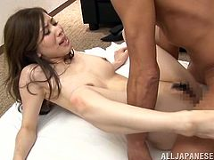 Slim Japanese office chick takes her clothes off and then gets her hairy pussy toyed. Later on she blows a dick and gets fucked hard. Then she also gets massive facial.