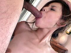 Insatiable dude sticks his hard cock into a bearded pussy of steamy Japanese cutie in ripped stockings while her mouth is busy giving a head to another dude in spoiled threesome sex video by Jav HD.