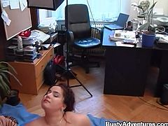This busty and chubby bang has a desire to suck your pecker dry and leave your balls empty. She squeezes her tits together them goes to town sucking you off. She pulls your foreskin back and uses her tongue on your cock head.