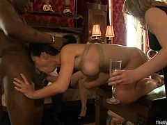 Tied up Asian chick gets her pussy toyed and then fingered deep. After that she takes big black cock deep in her mouth and pussy.