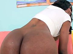 Young and slender chocolate beauty Nyomi Banxxx bent over on her knees and getting her asshole hotly licked up and fucked hard!