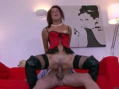 Don't skip this extremely hot Jim Slip sex tube video featuring hussy red haired bitch which rides dick reverse. Enjoy her small tits in action.