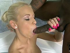 Blonde beauty likes having black cock drilling her shaved pussy in wild interracial