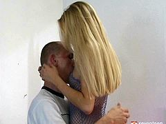 Horn made blond cutie in steamy fishnet mini dress welcomes a rapacious tongue fuck from aroused BF before she kneels down to oral fuck his strain big dick in spoiled sex video by Club Seventeen.