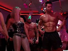 Dude, don't even hesitate to join these voluptuous drunk gals. Clubbing nymphos in sexy tight dresses are ready for casual sex. They dance seductively, play with tits, smack asses and wanna win a chance to suck dicks for cum.