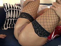 She looks hot and exciting in this black fishnet stockings. he drills her hard in doggy style and makes her cum. After she fingermarks her slit till happy ending.
