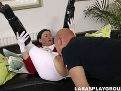 Cum addicted horsewoman has returned home with her spoiled coach. This bald headed dude is a lucky one, cuz kinky British brunette desires to suck his strong dick for cum as well as getting her wet hairy cunt drilled missionary tough. Just check her out in Jim Slip sex clip to jerk off and jizz at once.
