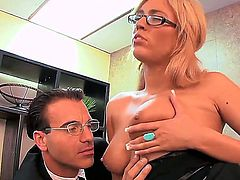 Amazing secretary Victoria White with sexy slender body and hot glasses knows how to seduce her boss. She has too beautiful boobs and hot face to remain without a sex during lunch break!