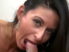 Amazing black haired woman Nikki Daniels sucks my lucky dick with real estate. She is used to suck dicks till the bitter end taste fresh cum right on her gentle tongue. Enjoy.