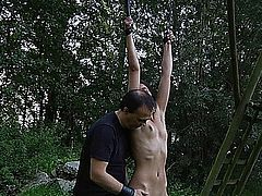 Allodia has special treatment today. She must bare harsh punishment while is tied up with ropes and is carrying a hard wood on her back.