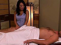 Asian Asa Akira and Manuel Ferrara have a lot of fun in this blowjob action