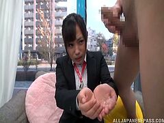 Cute Japanese chick Emi Asano watches some guy jerking his dick off. Then she lets him cum on her palms and plays with the jizz which she gets.