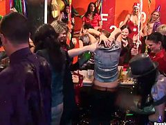 While partying hard celebrating New Year's eve, horny colleagues set a real group sex orgy where steamy bitches give head and welcome tongue fuck.