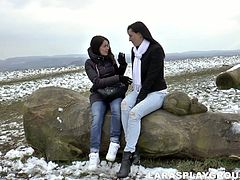 Two stunners appear on a screen with wonderful background. Later they go indoor where they have passionate lesbian sex filming in Jim Slip porn movie.